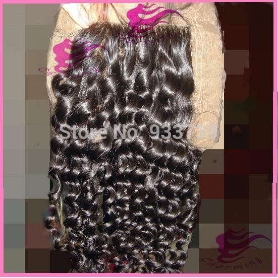 Peruvian kinky curly silk base closure free part lace front closure 6a virgin Peruvian closure hidden knots 4x4 silk closure(China (Mainland))