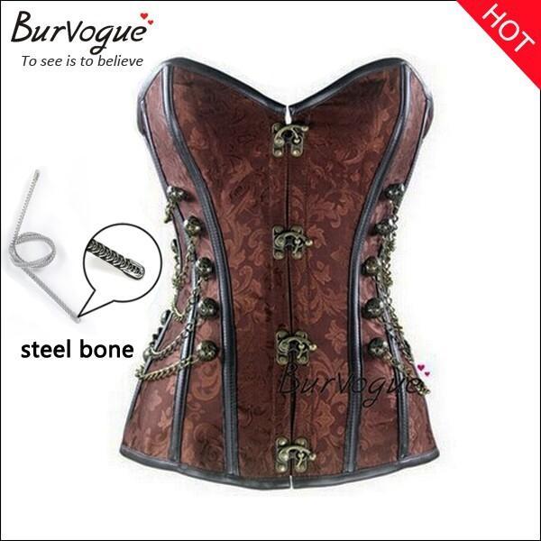 new steel bone corset steampunk waist training corset woman body shaper waist cincher corset punk corselets S-6XL(China (Mainland))