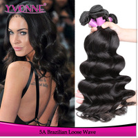3Pcs Loose Wave Brazilian Virgin Hair,5A Top Grade Unprocessed Human Hair Extension,12-28 Inches Aliexpress Yvonne Hair,Color 1B