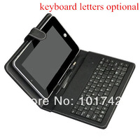 2013 New 8 inch Black Leather Cover Stand Case with USB Keyboard For Tablet PC