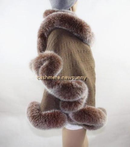 100% cashmere fox fur women fashion dress brown ponocho scarf shawl pashmina 75x180cm one&over size free shipping(China (Mainland))