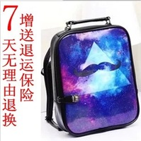 Women's handbag HARAJUKU trigonometric puffs backpack student bag trend of multi-color printing backpack