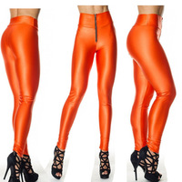 100 Factory direct sale2013 new candy-colored zipper leggings high waist pants Slim hip pantyhose wholesale fluorescence fitness
