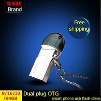 SSK 100% 64GB 32GB 16GB 8GB Smart phone usb flash drives pen drive OTG phone Tablet PC double plug metal MINI usb flash drive