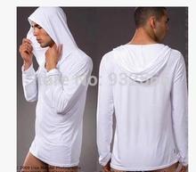 High quality Men's casual wear sleep tops Homewear Man yoga shirt clothing Hooded silky sleepwear viscose sleepwear(China (Mainland))