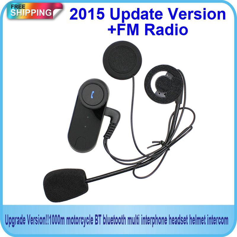 Free Shipping!!2015Updated Version !! BT Bluetooth Motorcycle Helmet Intercom Interphone Headset with FM Radio(China (Mainland))