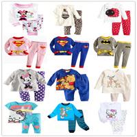 Retail Hot Sale New 2014 cotton Hello kitty baby Christmas pajamas of the children leopard pyjamas kids baby 2 pcs clothing sets