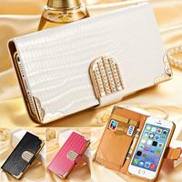 Carteira de Luxo Brilhante Capa de Couro PU Cristal Bling para o iPhone 5 ...