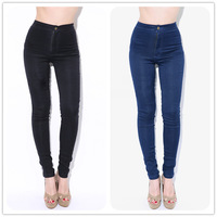 2014 women vintage American Apparel high waist easy jeans pencil Stretch Denim pants botton plus size
