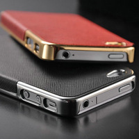 Luxury Gold Silver Chrome Hard Case For iPhone 5 5S Phone Bag Back Cover with PU leather Skin Protective Inner Shell