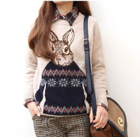 2014 fall and winter  Korean version of Mr. Rabbit Sweater loose round neck pullover jacquard knitted pullover women 5 colors