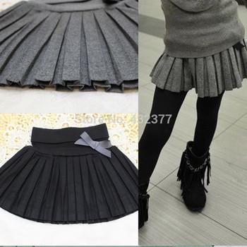 Бесплатная доставка новый 2014 осень зима по уходу за детьми одежда девушки юбка до середины бедра тонкий шерстяные плиссированные юбки черный / серый t ~ 12 оптовая продажа