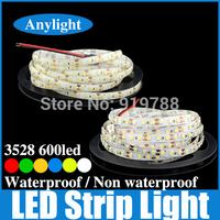 5M 3528 120Led/meter led strip light 600 Led smd dc 12V flexible strip light White, Warm white, Blue, Red, Green, Yellow WLED16