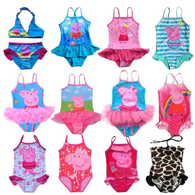 Retail New Girls Baby Swimwear Toddler Swimsuit Peppa Pig One-piece SZ2-10Years Tankini Bathing Tutu(China (Mainland))