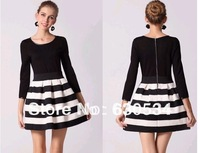 Free Shipping New Fashion 2013 Autumn Back And White Stripe Long Sleeve Dress For Women,Basic Clothes