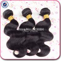 "High quality peruvian body wave human hair weave 3pcs lot free shipping 8""-30'' jet black cheap peruvian hair no tangle, no shed"