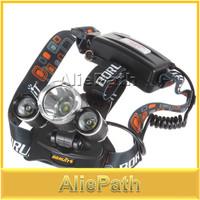 5000LM JR-3000 3X CREE XML T6 4 Mode LED Headlamp Headlight  + AC Charger + Plug Adaptor for bicycle bike light outdoor Lighting