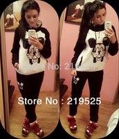 Plus Size Sport Suit Women Animal print Winter Set Women Casual Fleece Hoody Costume Hoodies Sweatshirts HS001
