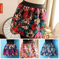 New 2014 Autumn Winter skirts Fashion Retro Floral / Plaid / Leopard Pattern Mini Bud Skirt Women's Flannel Skirt Free shipping
