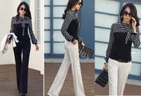 Hot sale New fashion Casual Ladies Stripes Long Puff Sleeve Cotton Tops Blouses T-Shirt 3544 F
