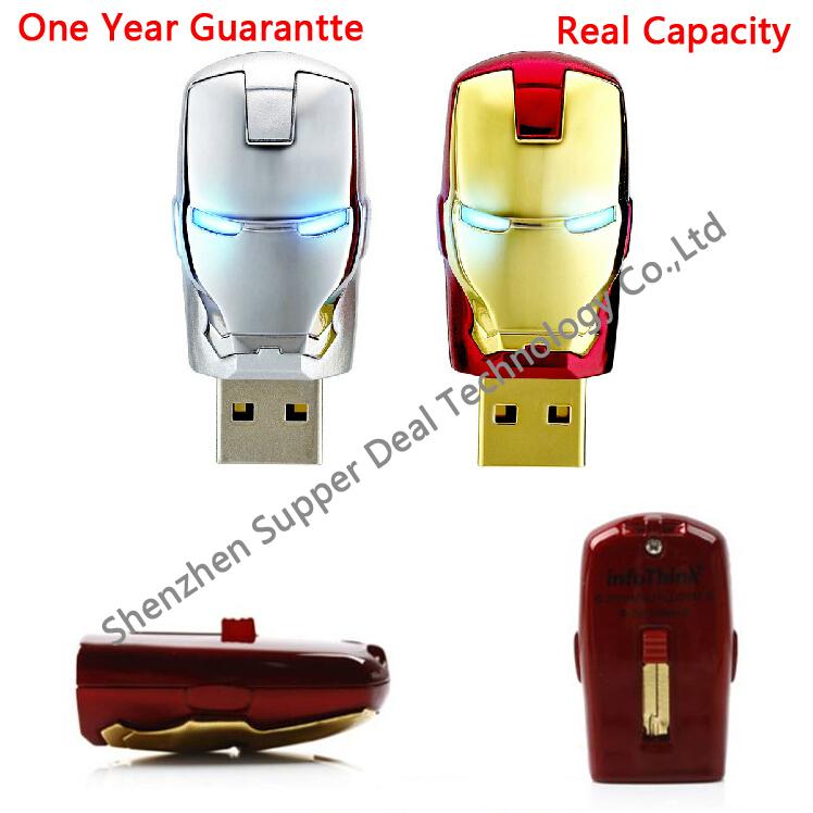 Gold Avengers Iron Man Real capacity 2G 4G 8GB 16G 32G USB2.0 Flash LED lights Memory Pen Drive Stick Pendrives U Disk Freeship(China (Mainland))
