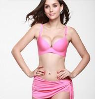 Seamless Push Up Bra One-piece Smooth Underwear Plunge  Brassiere For Women Black Pink Purple Red 32 34 36 38 A B C