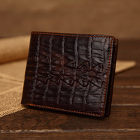 Designer men's classical vintage crocodile pattern leather purse,dark brown high quality embossed real  leather wallet,2014 new