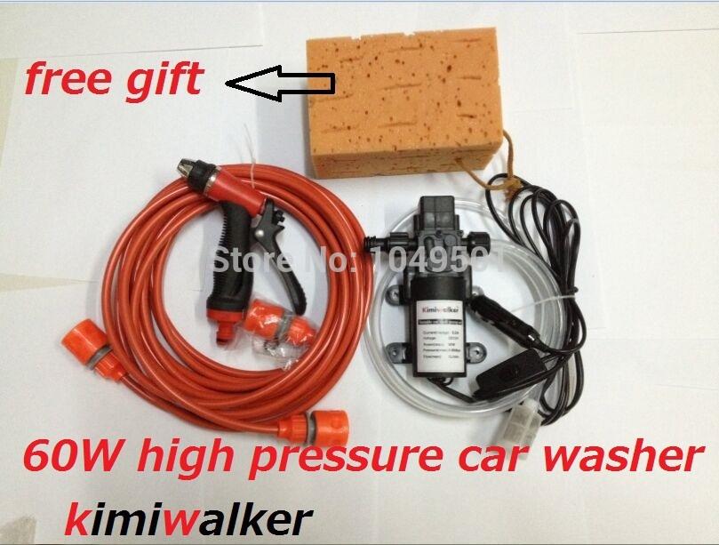 2014 new Car electric 60w high pressure car washer portable high pressure car wash pump 12v trainborn+free gift(China (Mainland))