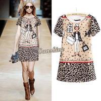 2014 New Womens European Fashion Cartoon Girl Print Short Sleeve Chiffon Dress S,M,L B2 18495