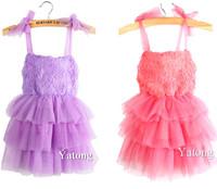 Free Shipping 2014 Newest 2-9 Years Rose Chiffon Baby Girls Princess Dresses Children's Dress Kids Summer Flower Girl Dress Gift