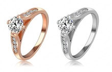 New Ring For Women 18K Rose Gold Platinum Plated With Austrian Crystal SWA Elements Wedding Jewely
