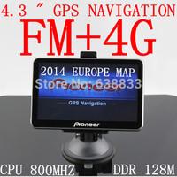 car gps navigator 4.3'' 4.3 Inch GPS NAVIGATOR MTK MSTAR 800MHz ddr 128M Internal 4GB 2014 navitel primo 2.4 map FM Russian gps