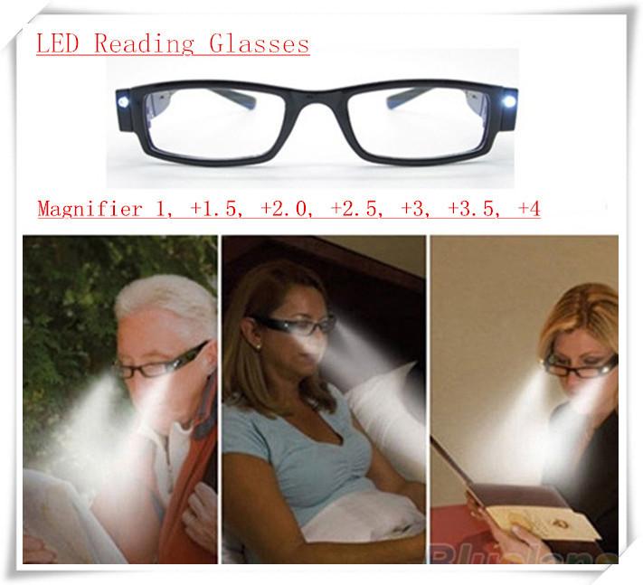 Multi Strength LED Reading Glasses night radiation Eyeglass Spectacle Magnifier 1, +1.5, +2.0, +2.5, +3, +3.5, +4(China (Mainland))