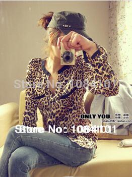 Exclusive!! S-XL,Hot Sale 2014 New Fashion Women Star Print Leopard Print Chiffon Blouse PLUS SIZE CXCS101-4202(China (Mainland))