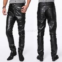 New 2014 Men Fashion Faux Leather Slim Fit Trousers Pants Black M/L/XL/XXL drop shipping 9566