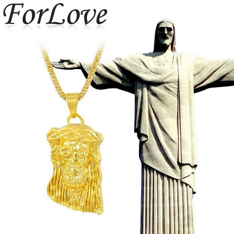 Hip Hop JESUS Christ Piece Cool Pendant & Necklace with free 30 inches Chain Real 24 K Gold for man men Jewelry new 2014 X199(China (Mainland))