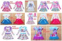 2014 Christmas cartoon cotton kids girl dresses party vestido frozen elsa anna my little pony casual dress 5pcs / LOT