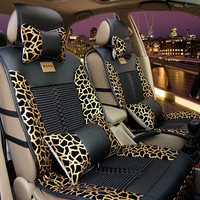Full set luxury danny viscose leopard print four seasons general soft leather car seat covers set for 5 seat car seat cushion