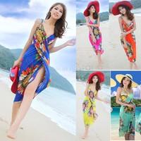 Dropshipping Summer New Sexy Swimwear Open-Back Wrap Front Cover Up Beach Dress Women Bikini Bohemian Dress SV001144#006