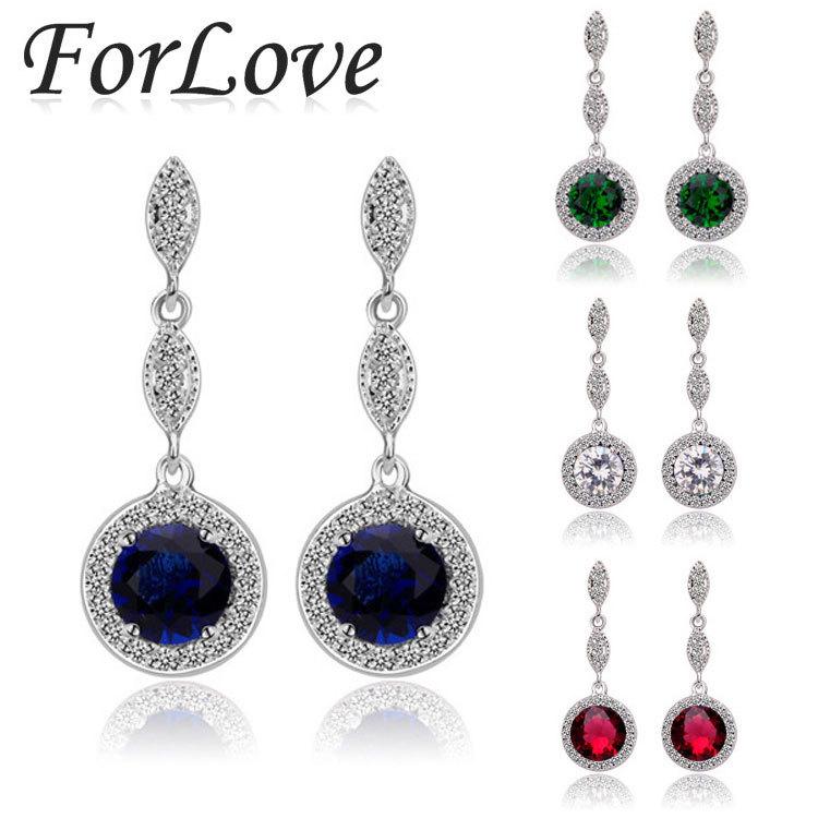 Two Gifts Sterling Silver 925 CZ Diamond zircon statement brinco dangle drop long earing Earring for women Wedding Jewelry e495(China (Mainland))