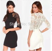 Plus Size Dresses 2014 Women Lace Dress Vestidos Verao Clubwear De Praia Mulheres Formal Dresses Casual Women Fall Sexy Bodycon