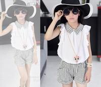 wholesale 2014 new arrival summer big girls sets Fashion girl chiffon sleeveless shirt + short two pieces set good quality  C278