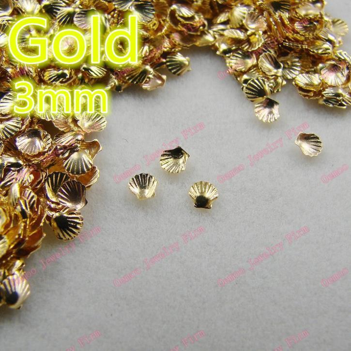3D 200pcs/bag Nail Decoration Small 3mm Metal Gold Shell Metal Nail Art Decoration nailheads studs Free shipping 290208(China (Mainland))