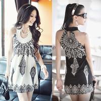 2014 Women's floral prints ladies' slim strap dress Classic Vintage Collar Exotic Summer Mini Dress B26 SV000976