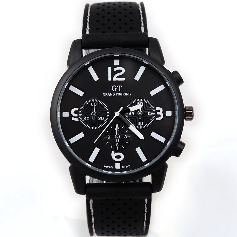 nuovo arrivo 2014 marchio quarzo sport degli uomini orologio militare orologi casual gt dropship orologio da polso banda di silicone moda orologio ore