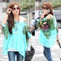 2014 New Style Women Spring Summer Bohemian Batwing Sleeve Flowers Printed Chiffon Shirt Tops Oversized Blouse Tees B18 SV000978