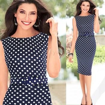 Рукавов длиной до колен синий точка рисунок платье Большой размер женщин Bodycon платье новинка летнее платье 2014 платье карандаша #3SV003000