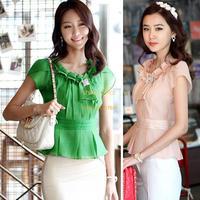 Nice New Women's Summer Casual Flouncing Sleeve Neck Chiffon blouse Shirt Tops Plus Size Blouses SV22 SV002341