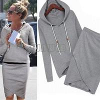 New Autumn spring cotton Skirt Women Casual Sport Suits long sleeve Sweatshirt Hoodies clothes set B18 SV004932