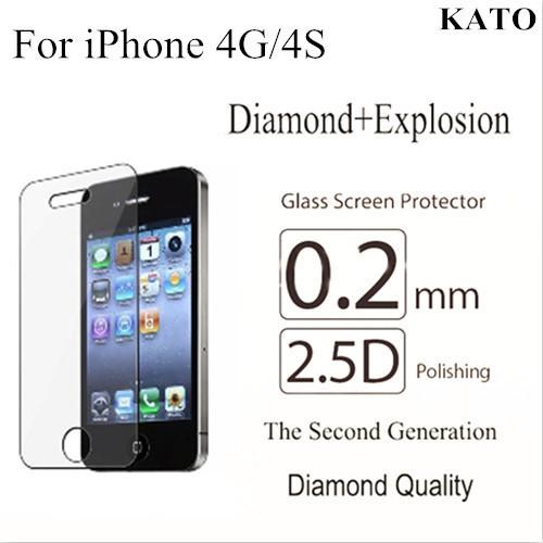 Trempé verre de protection écran pouriphone 0.2mm 4g/4s livraison gratuite diamant. antidéflagrant premium film de protection de la peau